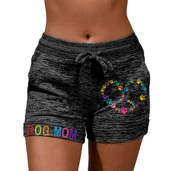 Load image into Gallery viewer, Women's Color DOG MOM Paw Heart Shaped Peace Sign Print Shorts