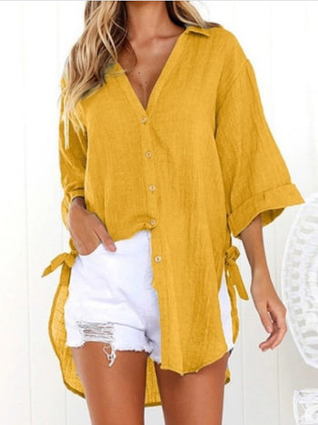 Load image into Gallery viewer, Women's Linen Cotton Linen Shirt Irregular Cardigan Top