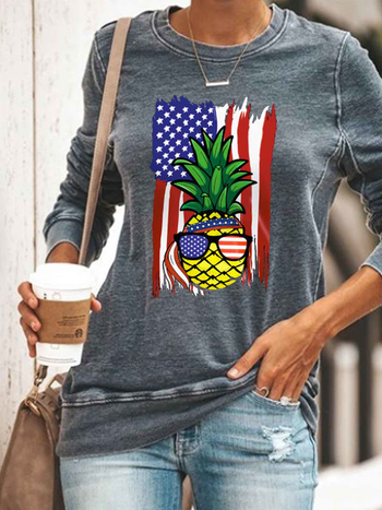 Load image into Gallery viewer, Women's Pineapple American Flag Print Top