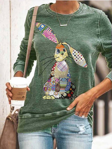 Cozy Painted Animal Bunny Printed Sweatshirt