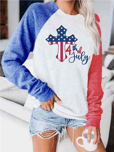 Women's 4th of July Cross American Flag Print Contrast Top