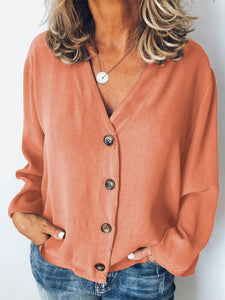 Women's solid color cotton and linen loose V-neck button shirt