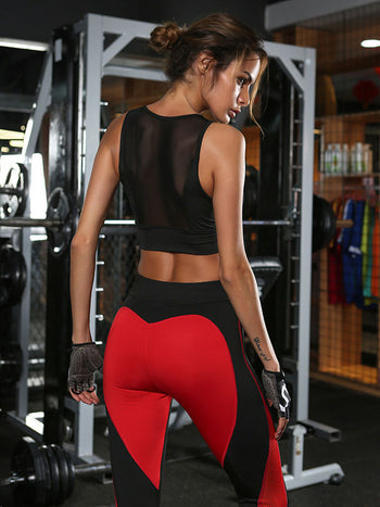 Load image into Gallery viewer, Heart-shaped Color Matching Mesh Stitching Yoga Pants