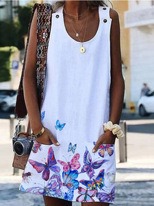 Printed Cotton And Linen Dress