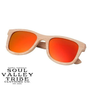Soul Valley Tribe Bamboo Sunglasses Fire Power Red