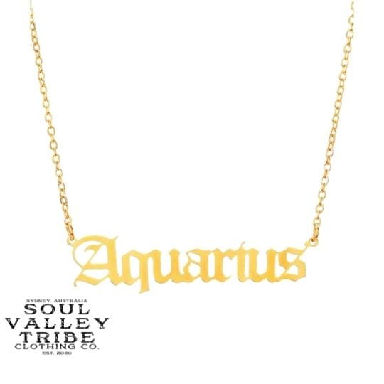 Soul Valley Tribe Old English Zodiac Gold Necklace Aquarius