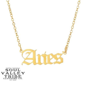 Soul Valley Tribe Old English Zodiac Gold Necklace Aries