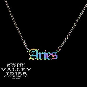 Soul Valley Tribe Old English Zodiac Rainbow Necklace Aries