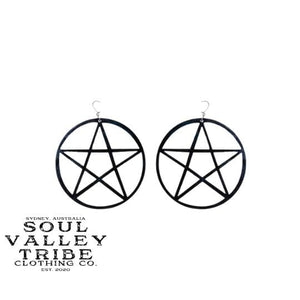 Soul Valley Tribe Black Pentagram Acrylic Earrings