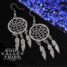 Load image into Gallery viewer, Soul Valley Tribe Boho Dream Catchers Earrings in Silver display