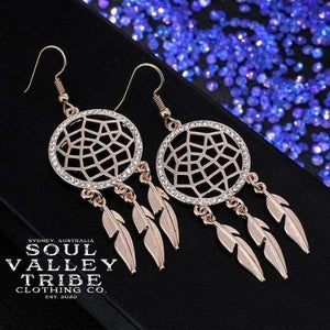 Soul Valley Tribe Boho Dream Catchers Earrings in rose gold display
