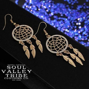 Soul Valley Tribe Boho Dream Catchers Earrings in Gold display