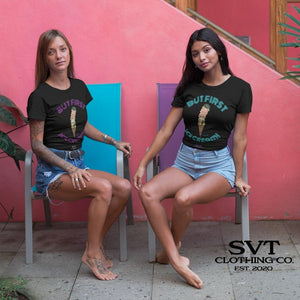 soulvalleytribe But First, Ice Cream Black Tee on Models photo