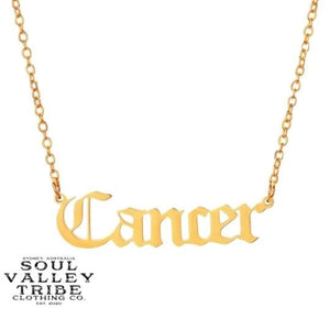 Soul Valley Tribe Old English Zodiac Gold Necklace Cancer