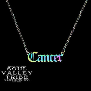 Soul Valley Tribe Old English Zodiac Rainbow Necklace Cancer