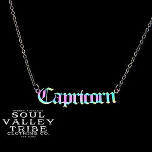 Soul Valley Tribe Old English Zodiac Rainbow Necklace Capricorn