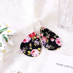 soulvalleytribe Floral Print Earrings in Black with Pink and purple flowers