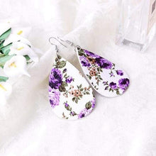 Load image into Gallery viewer, soulvalleytribe Floral Print Earrings in White with Purple flowers