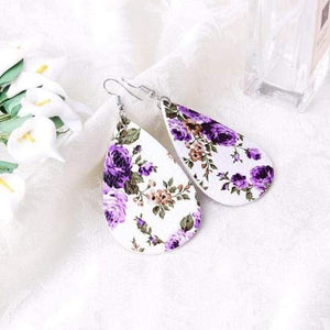 soulvalleytribe Floral Print Earrings in White with Purple flowers