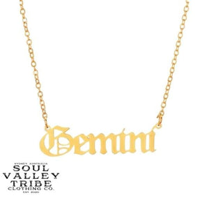 Soul Valley Tribe Old English Zodiac Gold Necklace Gemini