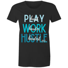 Load image into Gallery viewer, soulvalleytribe Hustle Hardest Black Tee with Blue Writing T-shirt Mockup