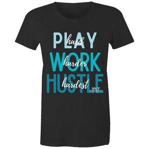 soulvalleytribe Hustle Hardest Black Tee with Blue Writing T-shirt Mockup