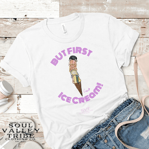 soulvalleytribe But First, Ice Cream White Tee Purple Text Mockup photo