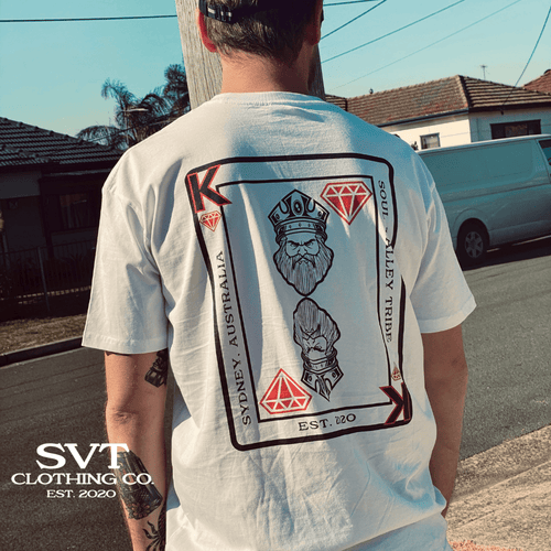 soulvalleytribe King of Diamonds white tee on male model facing away from the camera