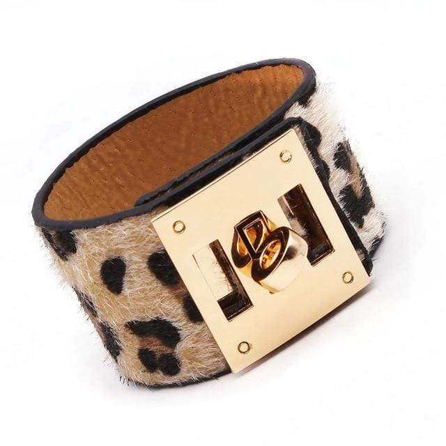 Leopard Print Locking Cuff