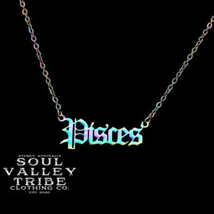 Soul Valley Tribe Old English Zodiac Rainbow Necklace Pisces