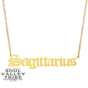 Soul Valley Tribe Old English Zodiac Gold Necklace Sagittarius