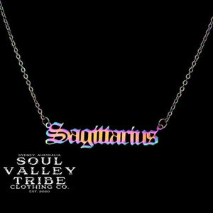 Soul Valley Tribe Old English Zodiac Rainbow Necklace Sagittarius