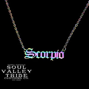 Soul Valley Tribe Old English Zodiac Rainbow Necklace Scorpio
