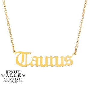 Soul Valley Tribe Old English Zodiac Gold Necklace Taurus