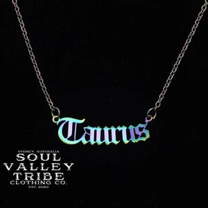 Soul Valley Tribe Old English Zodiac Rainbow Necklace Taurus