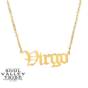 Soul Valley Tribe Old English Zodiac Gold Necklace Virgo