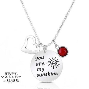 """You Are My Sunshine"" Silver Birthstone Necklace"