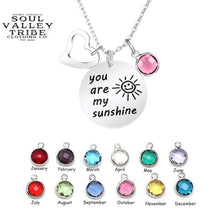 "Load image into Gallery viewer, ""You Are My Sunshine"" Silver Birthstone Necklace"