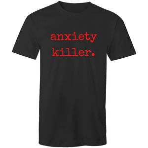 soulvalleytribe anxiety killer black tee red font mockup front view