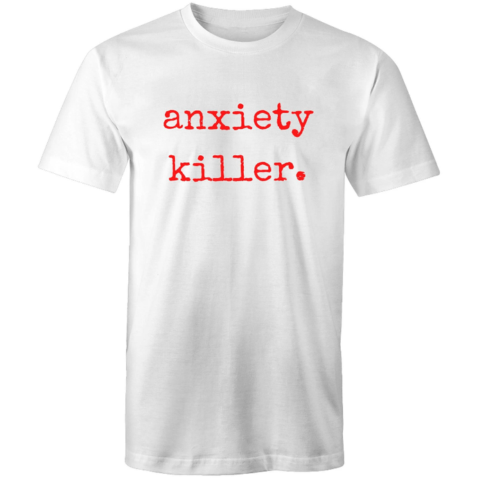 soulvalleytribe anxiety killer white tee red font mockup front view