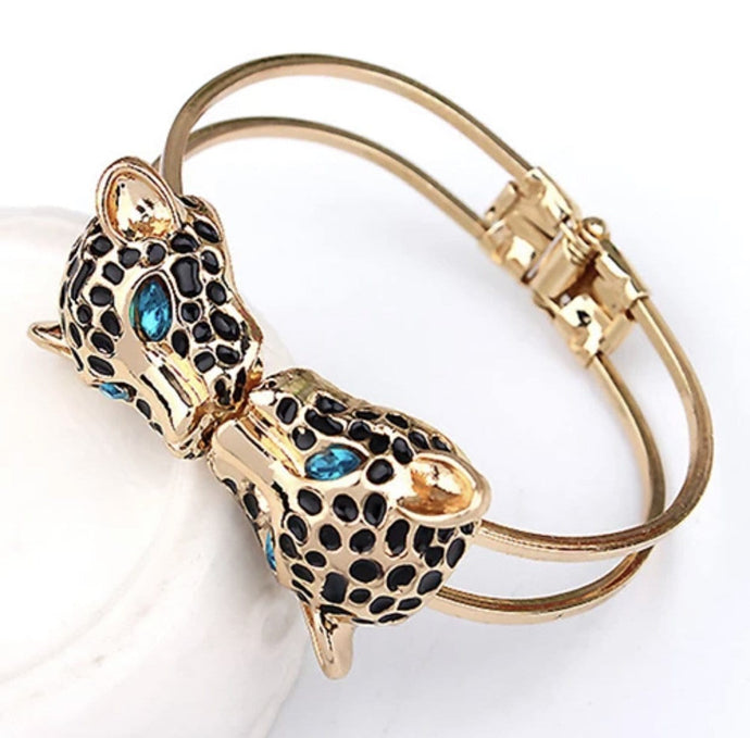 Leopard Head Golden Cuff