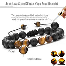 Load image into Gallery viewer, Adjustable tiger eye lava stone bracelet using essential oils