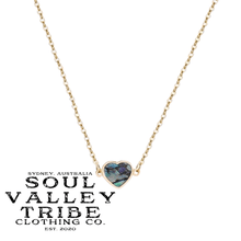 Load image into Gallery viewer, soulvalleytribe Abalone Shell Heart Pendant Gold Necklace