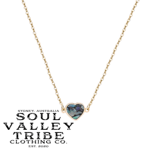 soulvalleytribe Abalone Shell Heart Pendant Gold Necklace