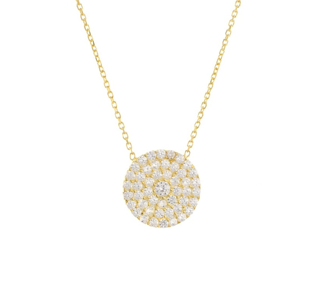 Circle Pave Charm Necklace