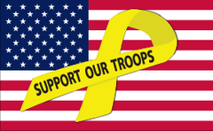Support Our Troops - Yellow Ribbon Flag