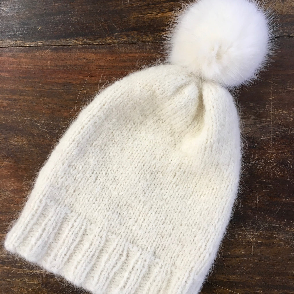 Simple free hat in Rico alpaca superfine with Pom Pom at the woolly brew