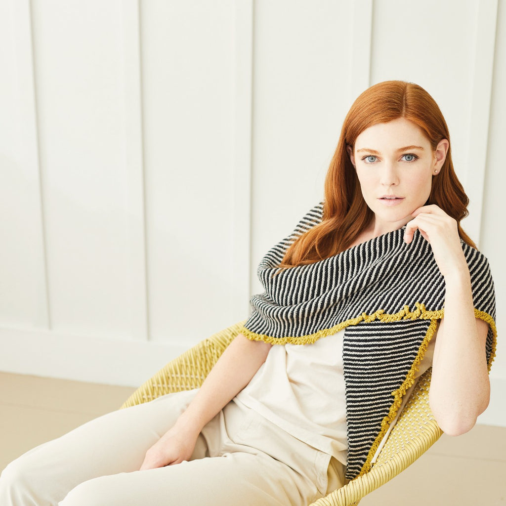 stripey shawl trimmed in yellow