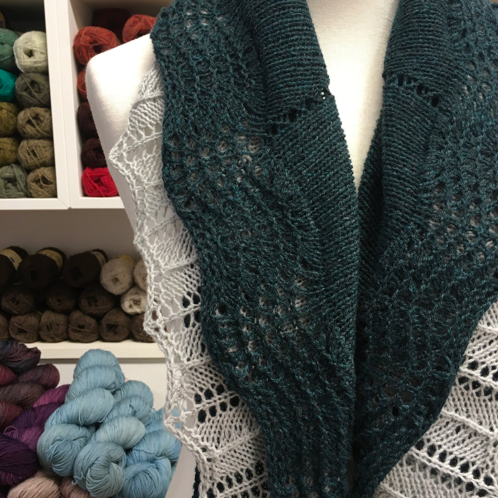 double edged shawl in bluey green and silver