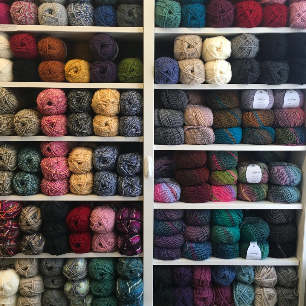 Wall of aran and chunky yarn at the woolly brew